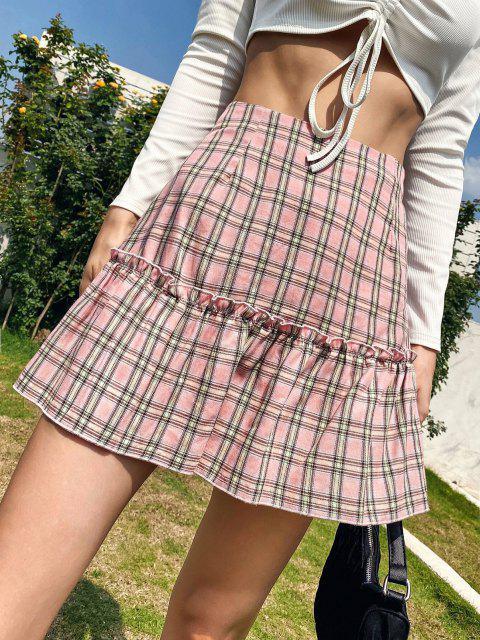 latest Lettuce Trim Plaid Mini Skirt - LIGHT PINK S Mobile