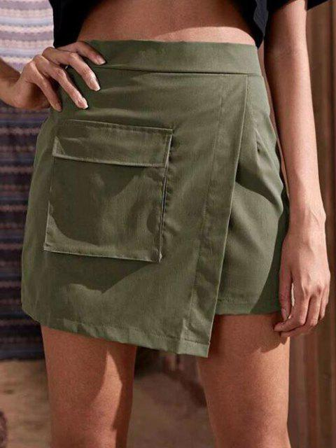 shop Flap Pocket Overlap Front Cargo Skirt - GREEN S Mobile