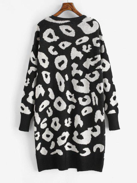 buy Leopard Drop Shoulder Open Front Cardigan - BLACK ONE SIZE Mobile