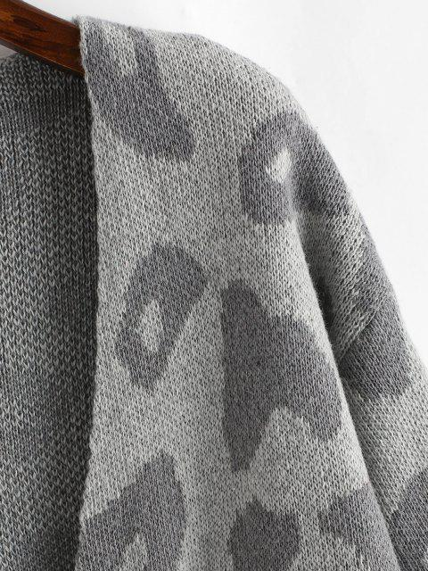 shop Leopard Drop Shoulder Open Front Cardigan - DARK GRAY ONE SIZE Mobile