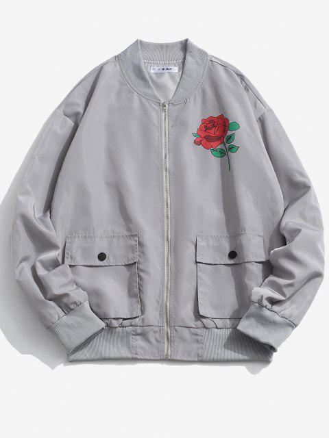 best Rose Flower Pattern Flap Pocket Jacket - PLATINUM M Mobile