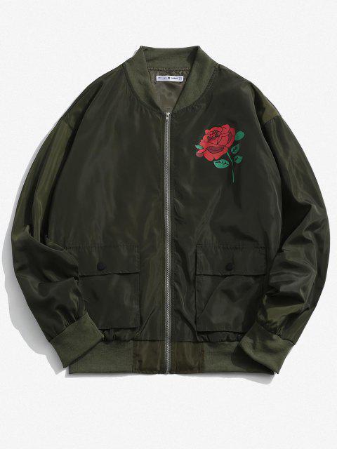 Veste Poche à Rabat Motif de Rose - Vert Armée  M Mobile