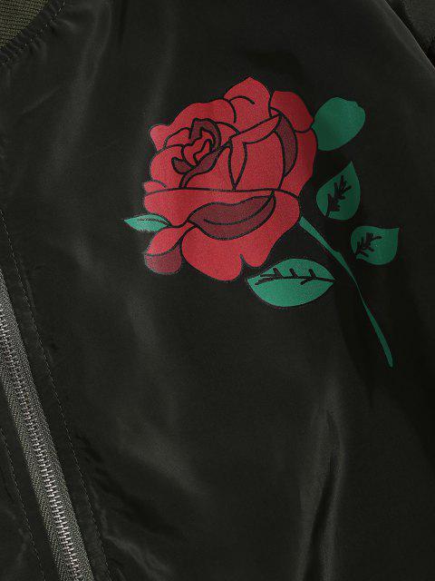 Veste Poche à Rabat Motif de Rose - Vert Armée  L Mobile