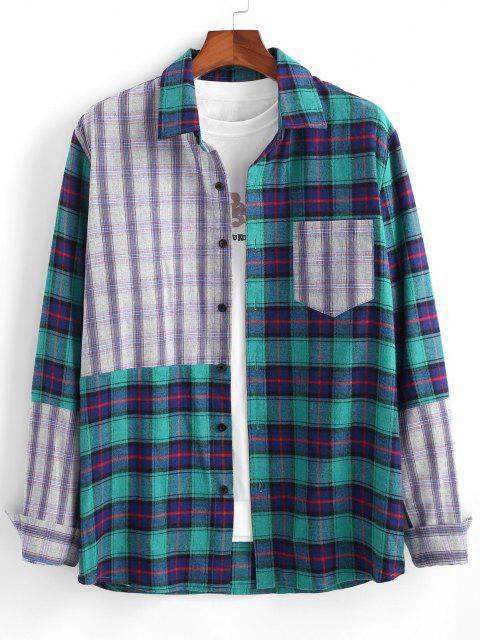 配色プラッドパッチワークポケット長袖シャツ - 青 S Mobile