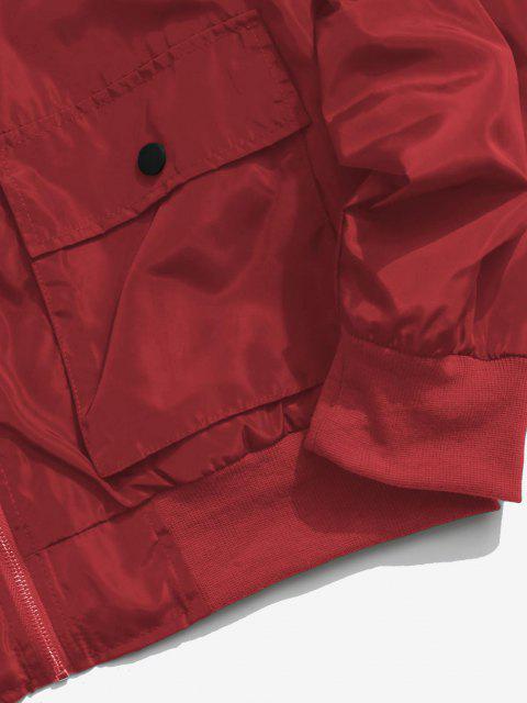 fancy Rose Flower Pattern Flap Pocket Jacket - DEEP RED M Mobile