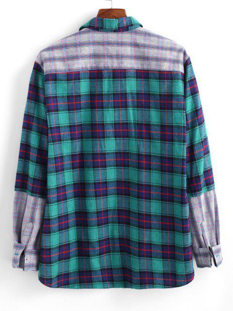 Camisa de Manga Larga Parche a Cuadros con Bolsillo de Bloqueo de Color - Azul XL Mobile