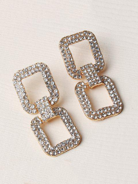 fashion Hollow Square Rhinestone Drop Earrings - GOLDEN  Mobile