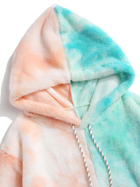 shop Contrast Tie Dye Faux Fur Fluffy Hoodie - LIGHT ORANGE 2XL Mobile
