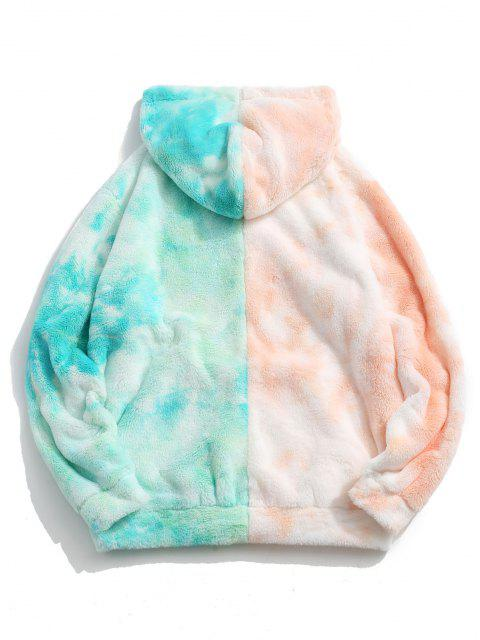 outfits Contrast Tie Dye Faux Fur Fluffy Hoodie - LIGHT ORANGE L Mobile