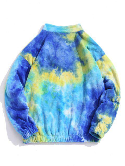 shops Quarter Zip Tie Dye Pattern Polar Fleece Sweatshirt - BLUE XS Mobile