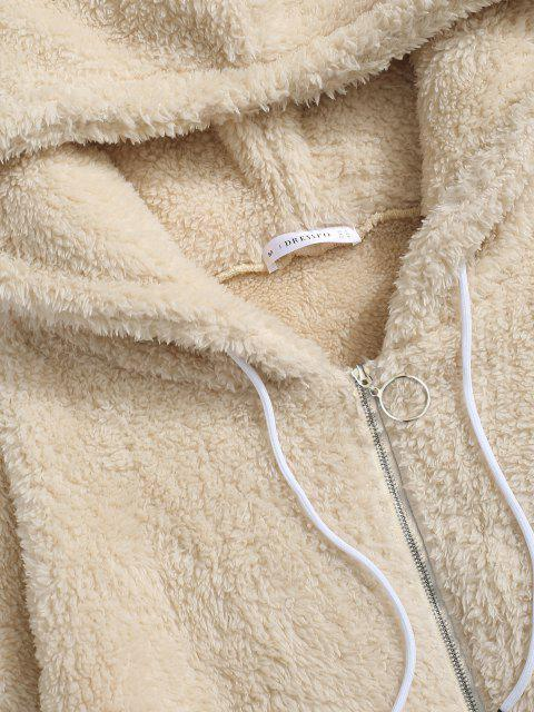 unique Hooded Zip Up Fluffy Jacket - LIGHT YELLOW L Mobile