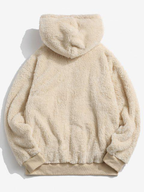 chic Hooded Zip Up Fluffy Jacket - LIGHT YELLOW M Mobile