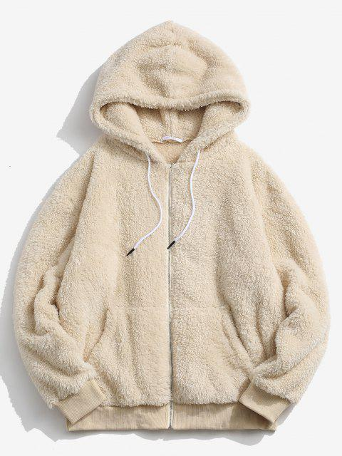 affordable Hooded Zip Up Fluffy Jacket - LIGHT YELLOW XS Mobile