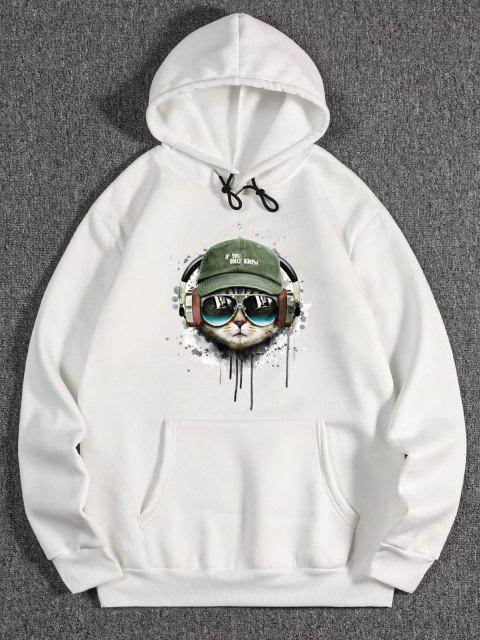 affordable Listening Music Cat Paint Pattern Fleece Hoodie - WHITE XL Mobile