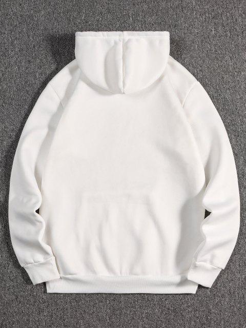 womens Listening Music Cat Paint Pattern Fleece Hoodie - WHITE M Mobile