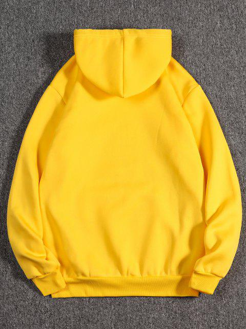 best Listening Music Cat Paint Pattern Fleece Hoodie - BRIGHT YELLOW L Mobile
