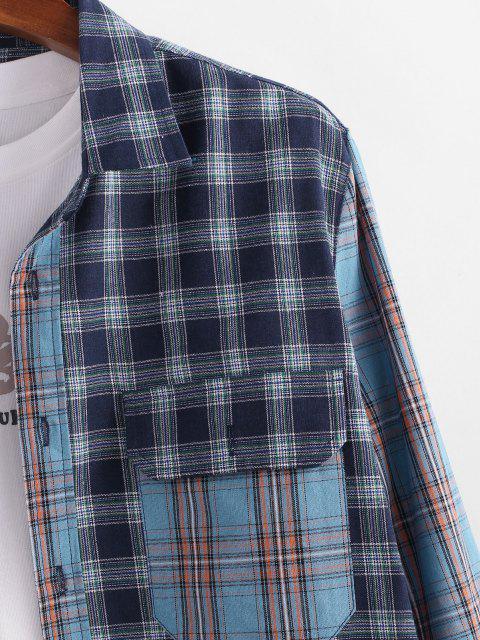 online Plaid Patchwork Pocket Patch Shirt - BLUE XL Mobile