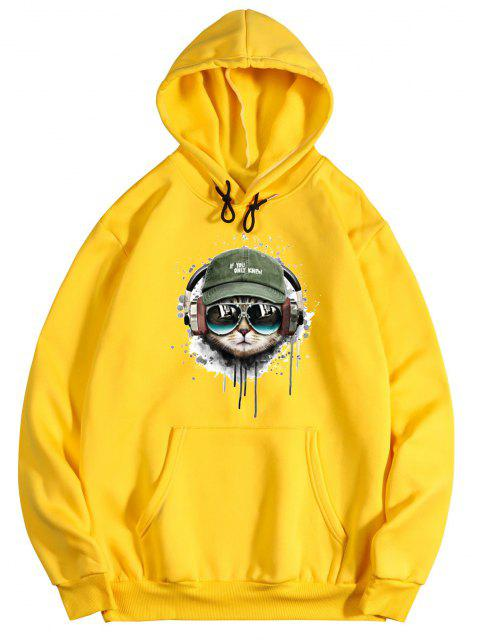 lady Listening Music Cat Paint Pattern Fleece Hoodie - BRIGHT YELLOW S Mobile