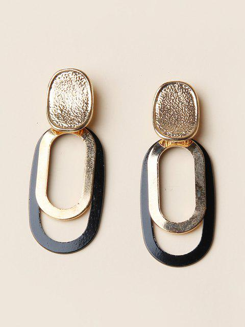 fancy Brief Oval Hollow Drop Earrings - GOLDEN  Mobile