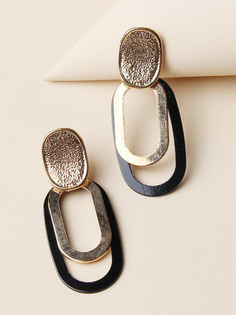 fancy Brief Oval Hollow Drop Earrings - GOLDEN  Mobile