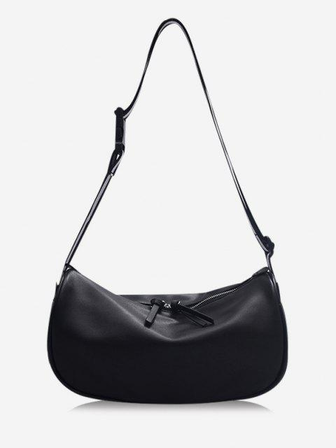 lady Striped Strap Shoulder Bag - BLACK  Mobile