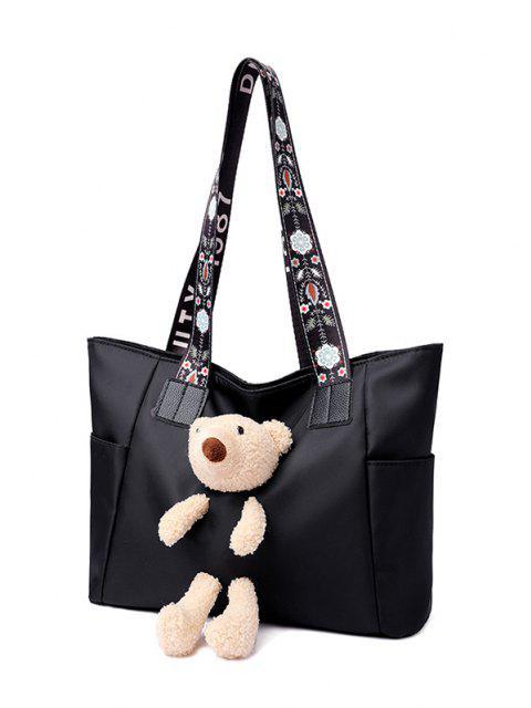 Bolsa Floral com Urso de Pelúcia - Preto  Mobile