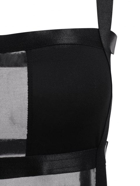 fancy Mesh Ladder Cutout Bandage Bodysuit - BLACK M Mobile