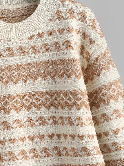 Tribaldruck Hängender Schulter Pullover - Licht Kaffee Eine Größe Mobile