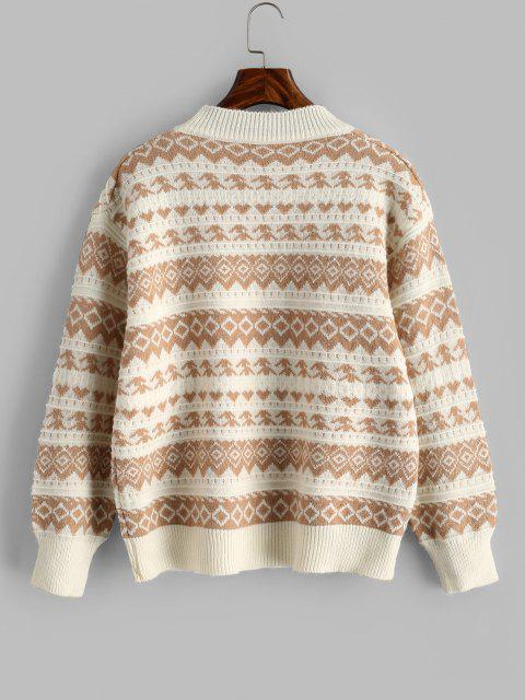 ladies Tribal Pattern Drop Shoulder Sweater - LIGHT COFFEE ONE SIZE Mobile