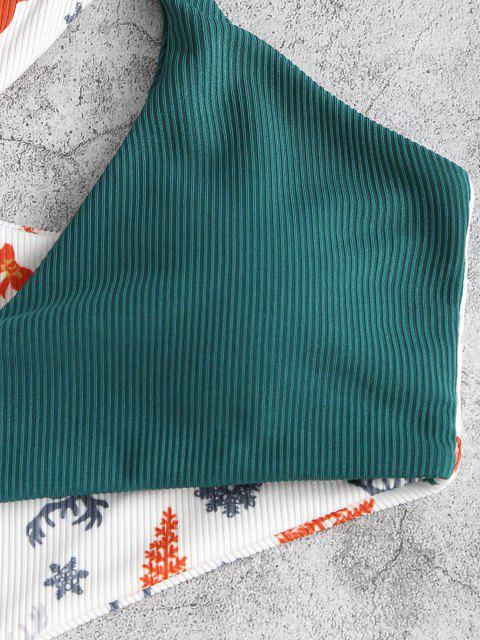 trendy ZAFUL Christmas Tree Elk Snowflake Print Cut Out One-piece Swimwear - WHITE M Mobile