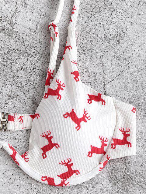 sale ZAFUL Monowire Christmas Elk Print Bikini Swimwear - RED L Mobile