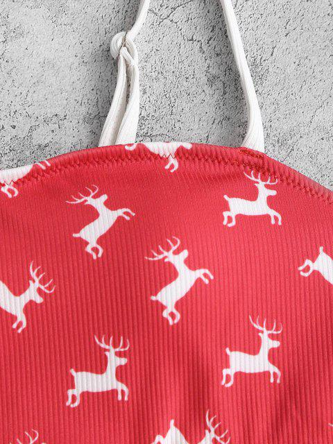 womens ZAFUL Christmas Elk Print Cutout One-piece Swimwear - RED L Mobile