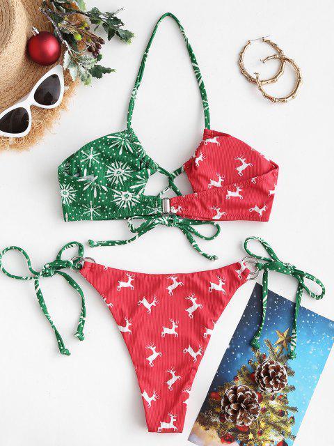 ladies ZAFUL Christmas Elk Snowflake Print Tied Bikini Swimwear - RED M Mobile