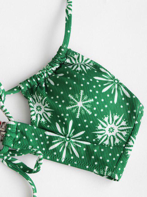 lady ZAFUL Christmas Elk Snowflake Print Tied Bikini Swimwear - RED L Mobile