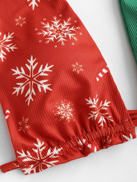 new ZAFUL Christmas Halter Ribbed Snowflake Tie String Bikini Swimwear - RED L Mobile