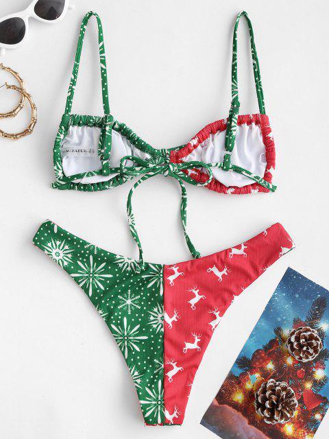 ZAFUL Christmas Printed Cinched Colorblock Bikini Swimwear - أحمر L Mobile