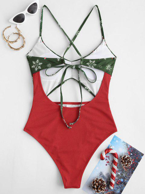 latest ZAFUL Christmas Ribbed Snowflake Cutout Ruched One-piece Swimsuit - RED L Mobile