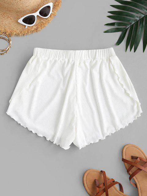 shops ZAFUL Lettuce Trim Ribbed Swim Shorts - WHITE M Mobile