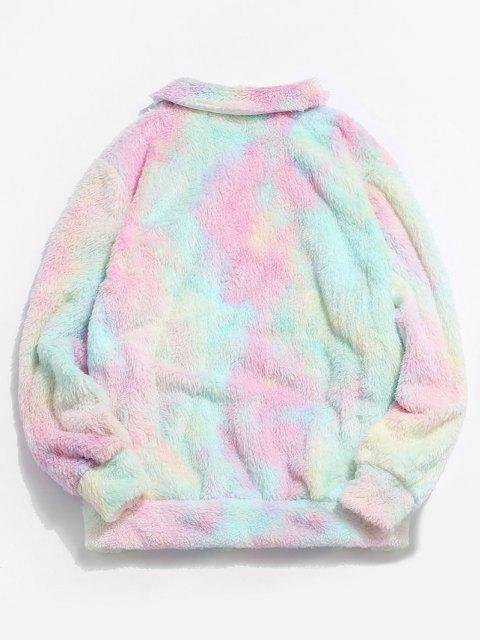 ZAFUL Fluffy Tie Dye Jacket - وردي فاتح L Mobile