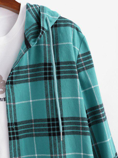 sale Long Sleeve Plaid Hooded Shirt - BLUE 2XL Mobile