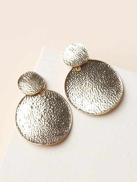 sale Hammered Disc Shape Drop Earrings - GOLDEN  Mobile