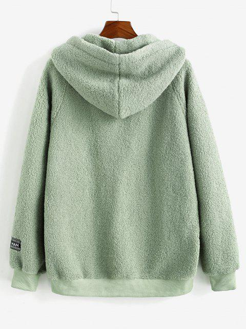 sale Colorblock Patched Raglan Sleeve Hooded Teddy Jacket - LIGHT GREEN XL Mobile