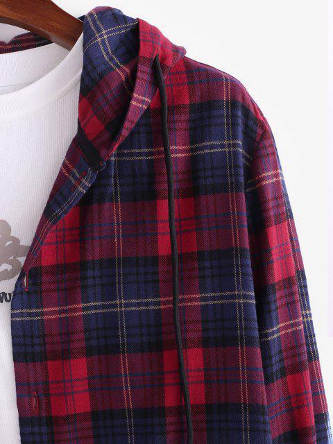 長袖プラッドフード付きシャツジャケット - 赤 M Mobile