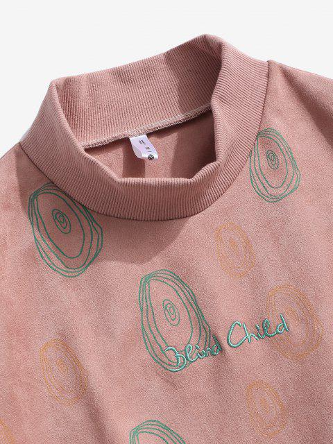 outfits ZAFUL Circle Print Letter Embroidered Suede Sweatshirt - LIGHT PINK L Mobile