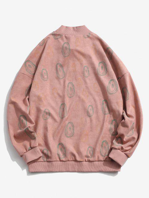 chic ZAFUL Circle Print Letter Embroidered Suede Sweatshirt - LIGHT PINK M Mobile