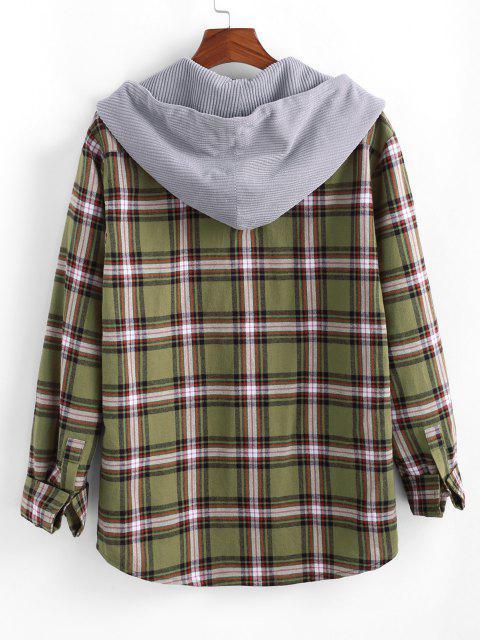 Plaid Print Corduroy Panel Hooded Shirt - اصفر غامق M Mobile
