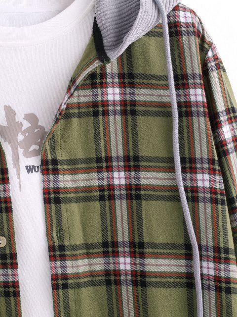 women's Plaid Print Corduroy Panel Hooded Shirt - DEEP YELLOW M Mobile