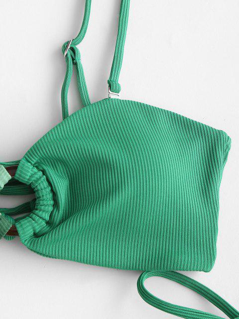 lady ZAFUL Christmas Berry Elk O Ring Lace Up Ribbed Bikini Swimwear - DEEP GREEN M Mobile