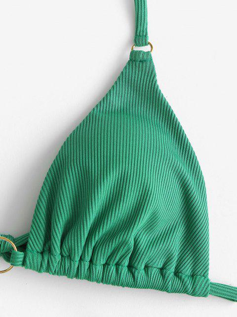 new ZAFUL Christmas Berry Elk Print O Ring Ribbed String Bikini Swimwear - DEEP GREEN M Mobile