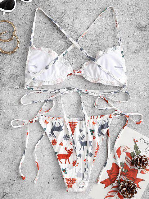 ZAFUL Christmas Tree Snowflake Elk Print Padded String Bikini Set - أبيض S Mobile